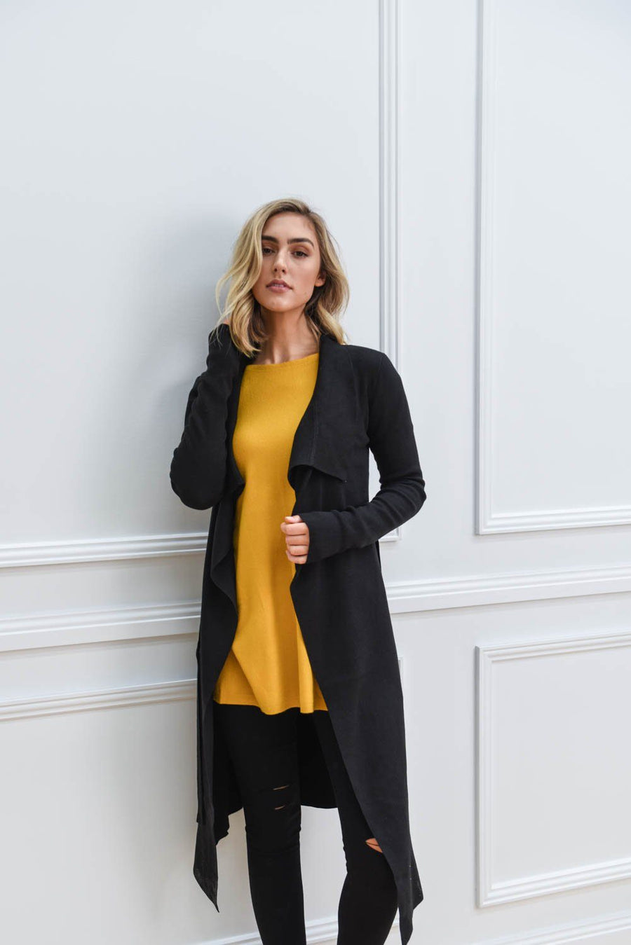 Tash Trench Coatigan | Black Cardigan Gray Label