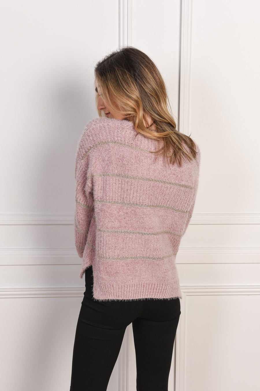 Tiffany Sweater | Pink Knit Gray Label