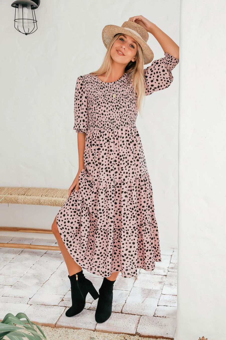 Willow Dress | Blush Leopard Dress Gray.Label