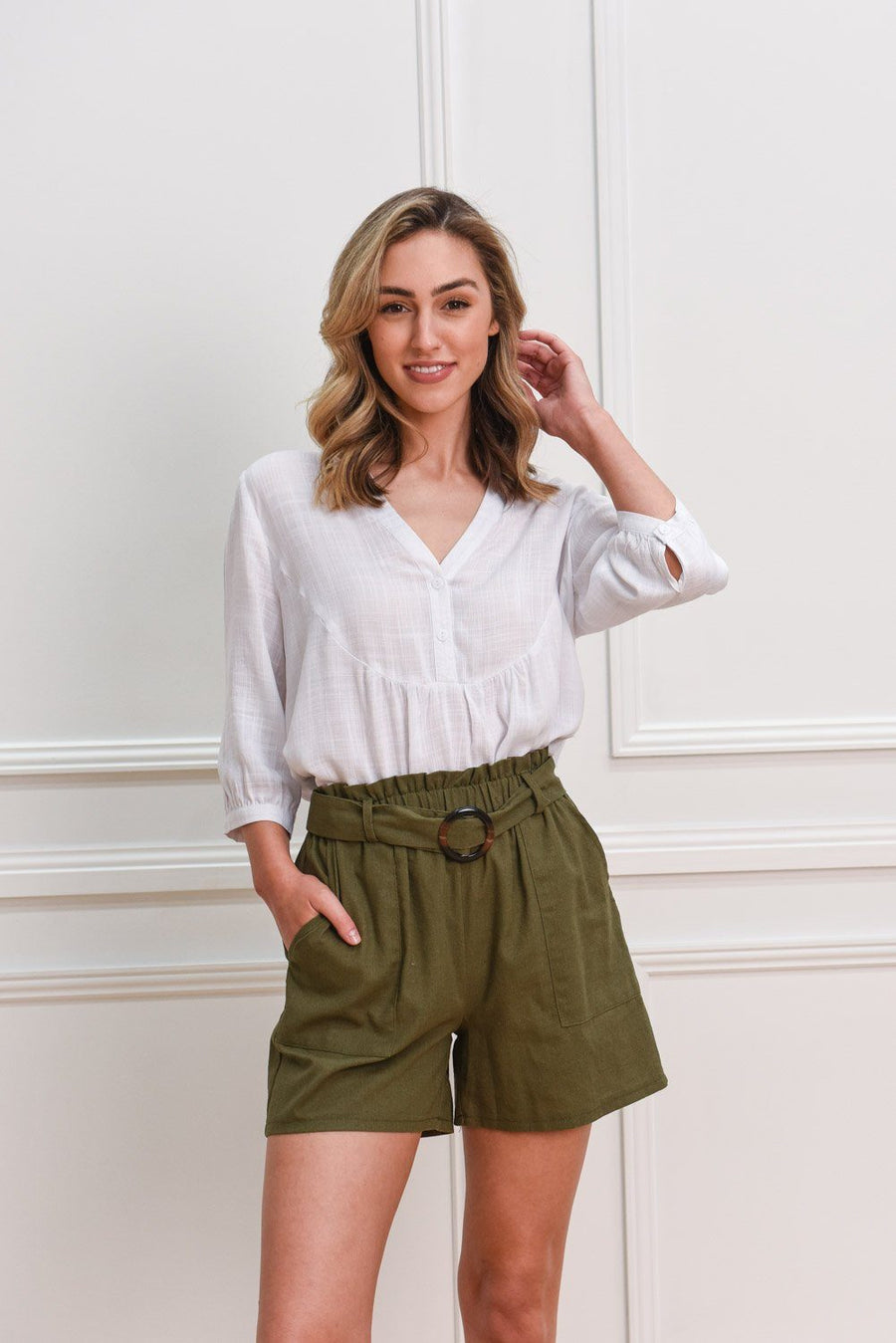 Zara Linen Shorts | Khaki Shorts Gray Label