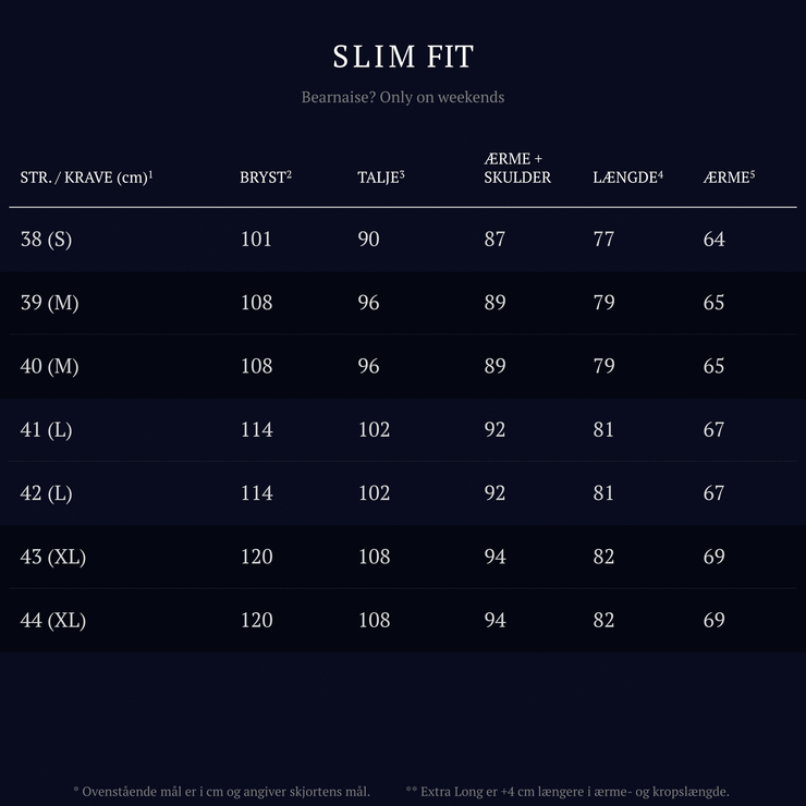 Barons size guide | Slim fit