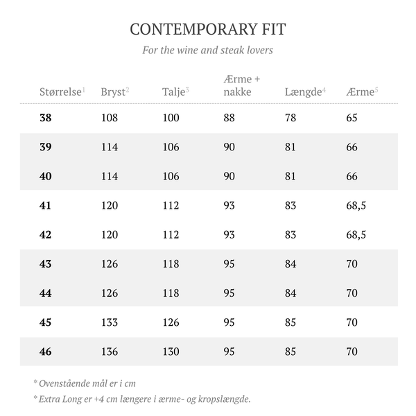 Barons size guide | Contemporary Fit