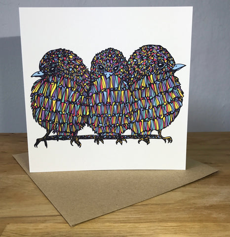 """Three Little Birds"" <p> 150mm Square Greetiings Card"