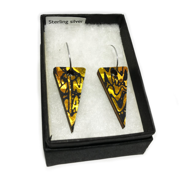 Wooden Triangle Earrings: Amber Gold