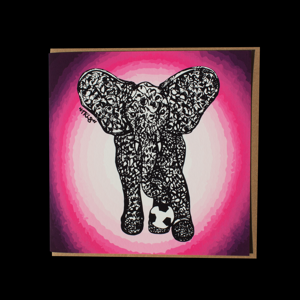 "City Animalz ""Rebel Elephant Pink"" <p> 150mm Square Greetings Card"