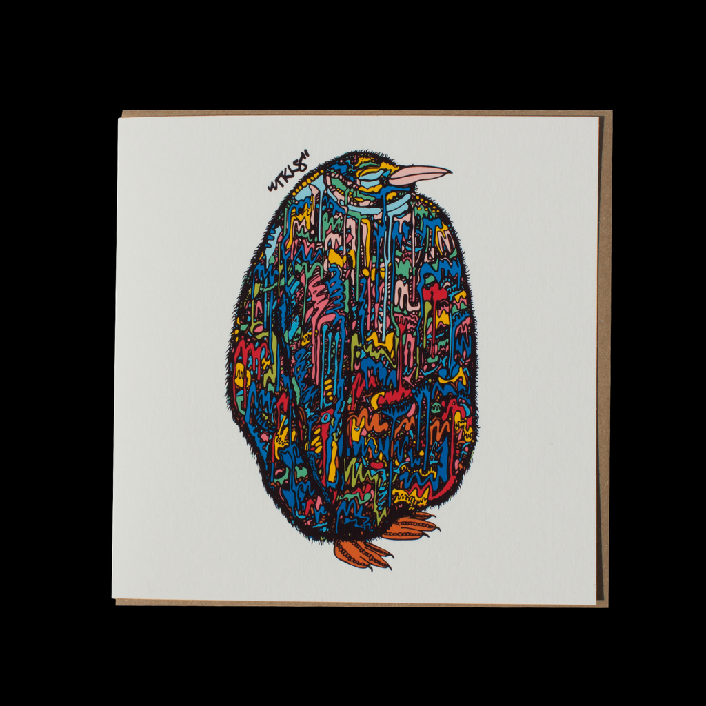 "City Animalz ""808 Penguin Original"" <p> 150mm Square Greetings Card"