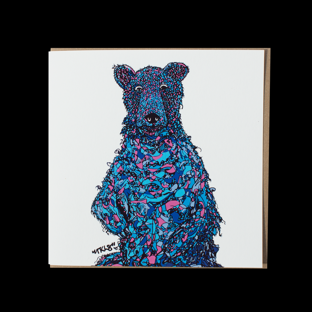 "City Animalz ""Blueberry Bear Original"" <p> 150mm Square Greetings Card"