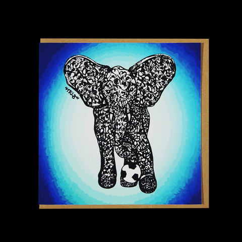 "City Animalz ""Rebel Elephant Blue"" <p> 150mm Square Greetings Card"
