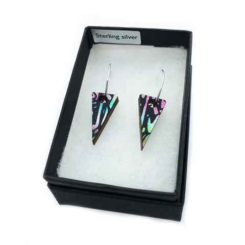 Mini Wooden Triangle Earrings: Metallic Rainbow