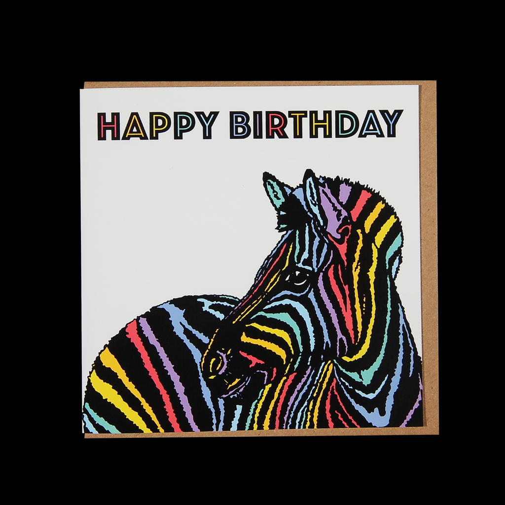 """Rainbow Zebra Birthday"" Greetings Card"