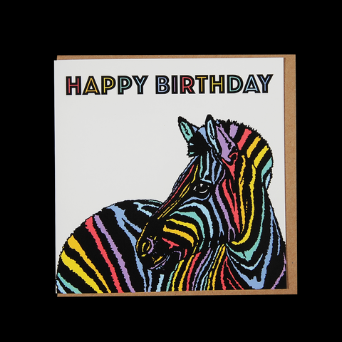 """Rainbow Candy Zebra Birthday"" <p> 150mm Square Greetings Card"