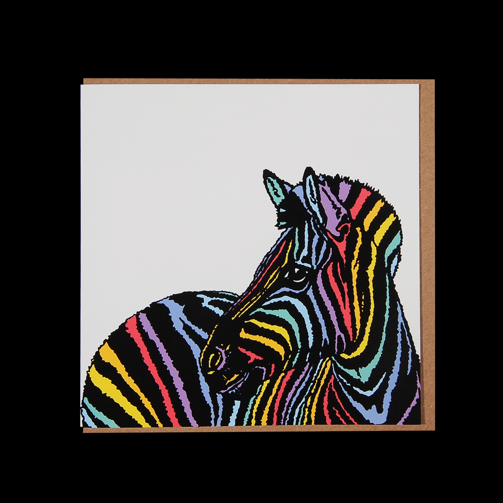 """Rainbow Candy Zebra"" <p> 150mm Square Greetings Card"