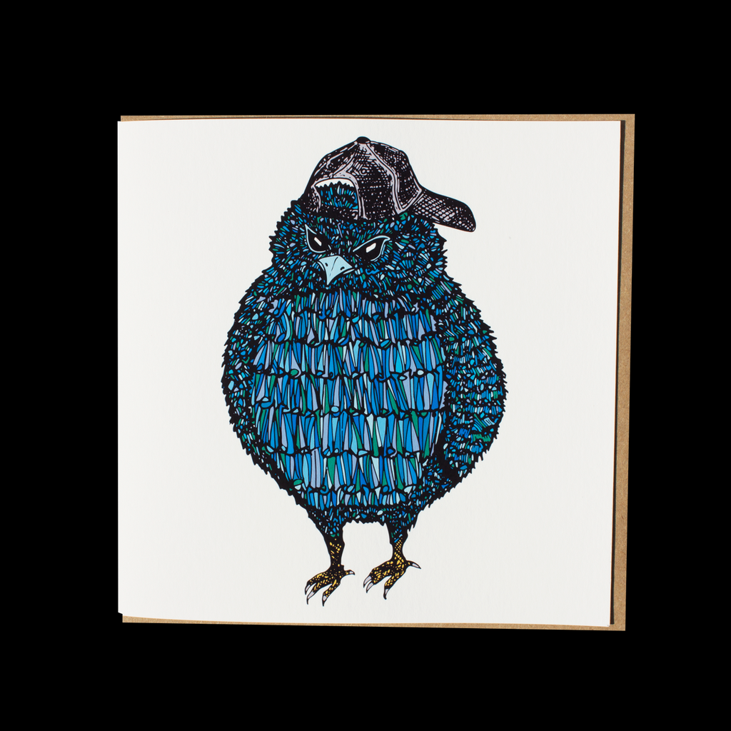 """Rainbow Blue Bird"" <p> 150mm Square Greetings Card"