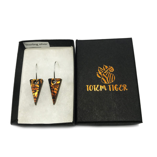 Mini Wooden Triangle Earrings: Orange Amber