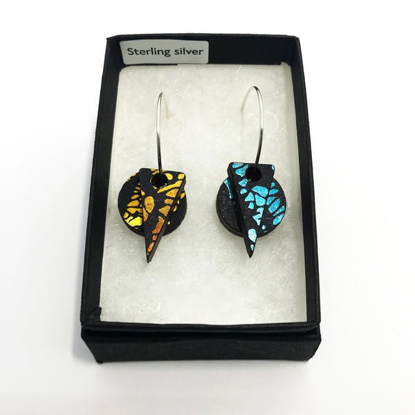 Wooden Layered Earrings: Sunshine/Turquoise