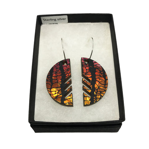 Large Wooden Semicircle Earrings: Sunset Orange