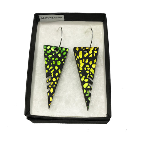 Large Wooden Triangle Earrings: Green/Yellow