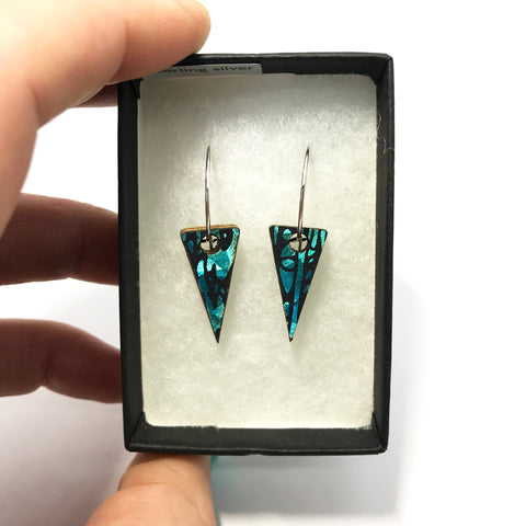 Mini Wooden Triangle Earrings: Turquoise Blue
