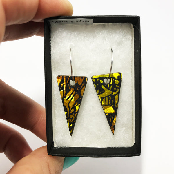 Wooden Triangle Earrings: Orange Amber Gold