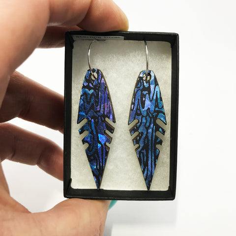 Wooden Feather Earrings: Blue Amethyst