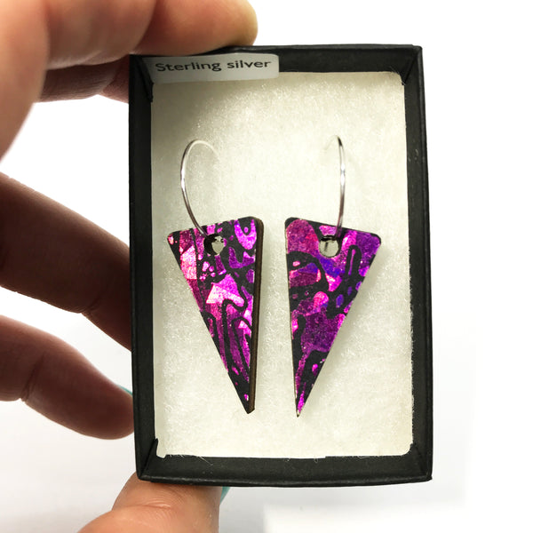 Wooden Triangle Earrings: Pink Rubellite