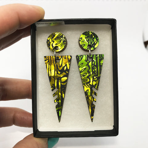 Large Wooden Triangle Stud Earrings: Acid Yellow Lime Green