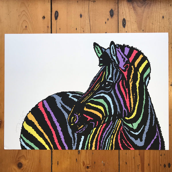 """Rainbow Candy Zebra"" Art Print"
