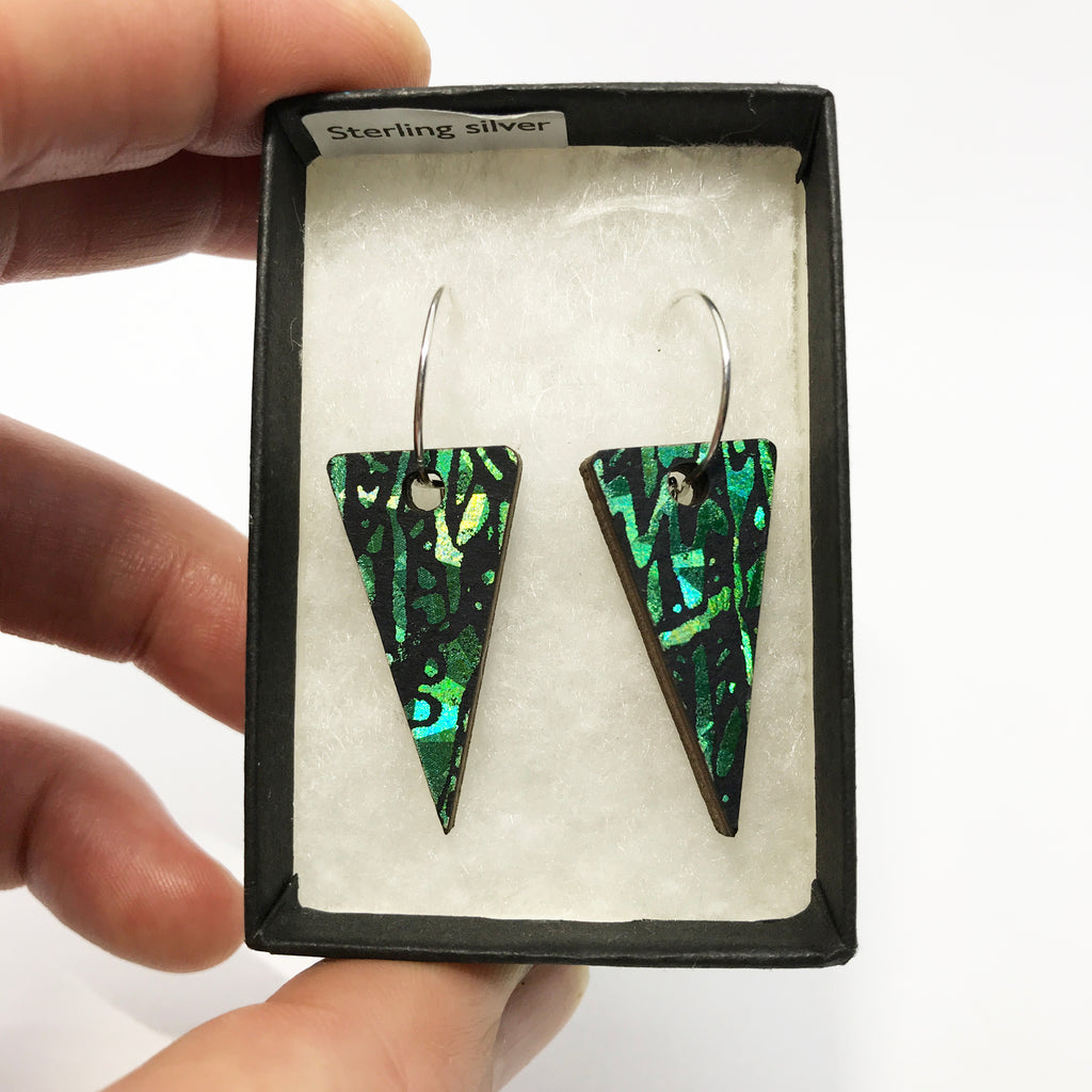 Wooden Triangle Earrings: Emerald Green