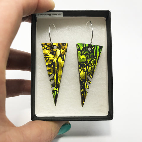 Large Wooden Triangle Hoop Earrings: Acid Yellow/Lime Green