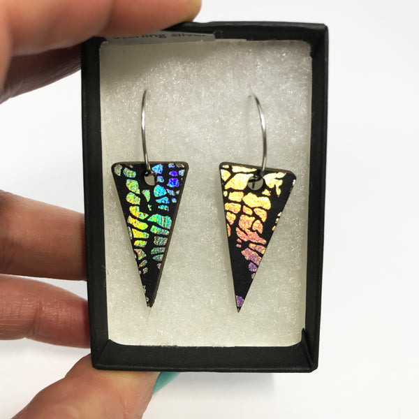 Wooden Triangle Earrings: Laser Rainbow