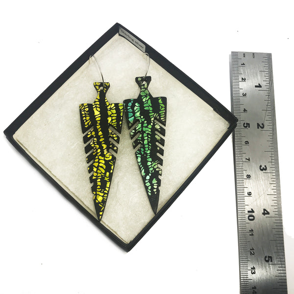 Statement Wooden Spear Earrings: Yellow/Green