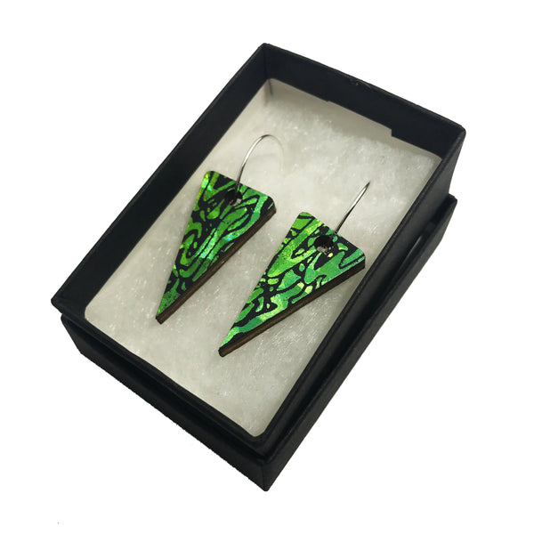 Wooden Triangle Earrings: Emerald Lime