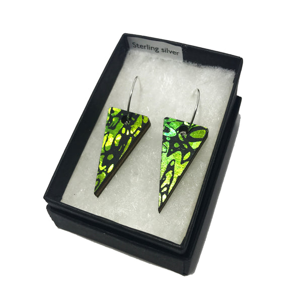 Wooden Triangle Earrings: Beetle Green