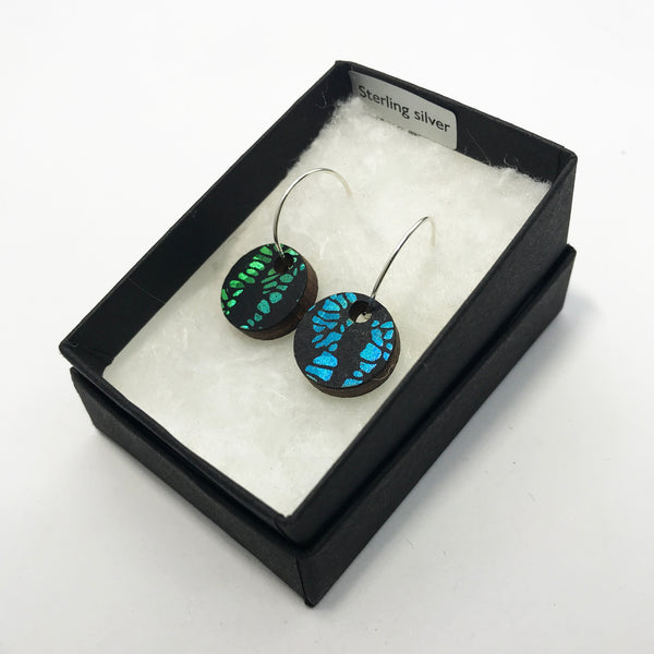 Wooden Circle Earrings: Green/Blue