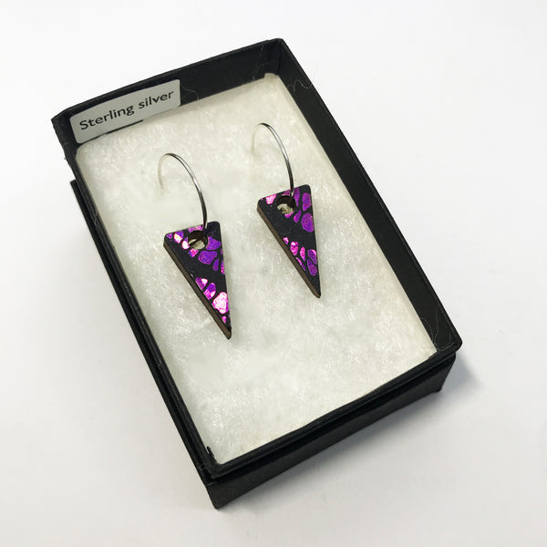 Mini Wooden Triangle Earrings: Pink Megenta