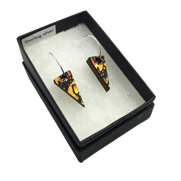 Mini Wooden Triangle Earrings: Amber Gold