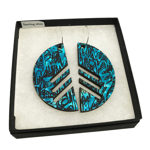 Statement Wooden Semicircle Earrings: Turquoise Blue