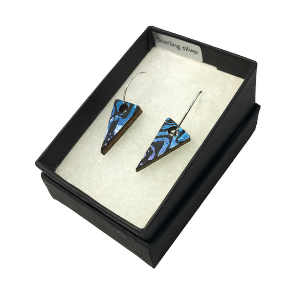 Mini Wooden Triangle Earrings: Blue Amethyst