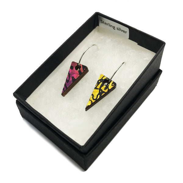 Mini Wooden Triangle Earrings: Red/Yellow