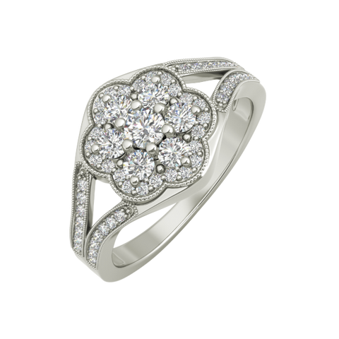 Rosa sterling silver engagement ring - EJ Cole