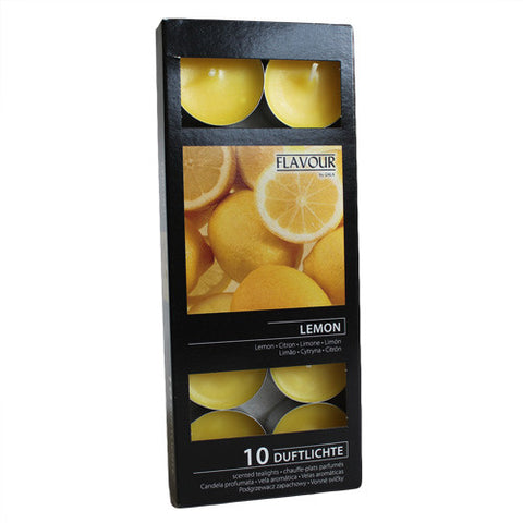 Box of 10 Scented Tealight Candles - Lemon
