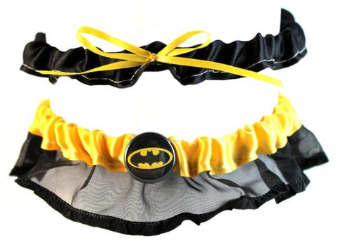 """Bat"" Superhero Theme Wedding Garter"