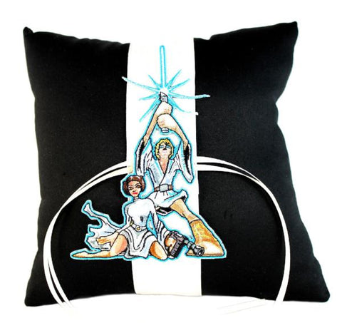 """Space Wars"" Wedding Ring Pillow with Classic Patch"