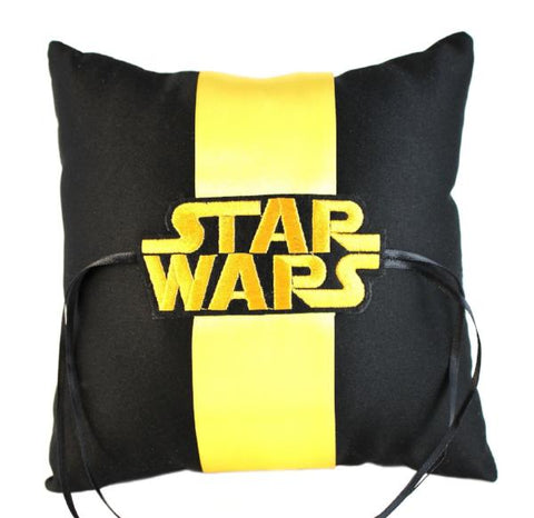 """Space Wars"" Wedding Ring Pillow with Logo"