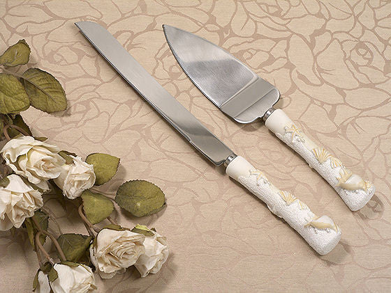 Beach Wedding Cake and Knife Set