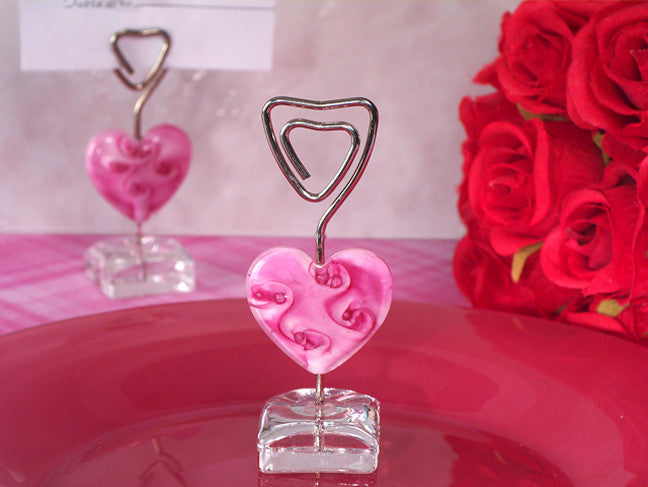 Murano Pink Glass Heart Place Card Holder