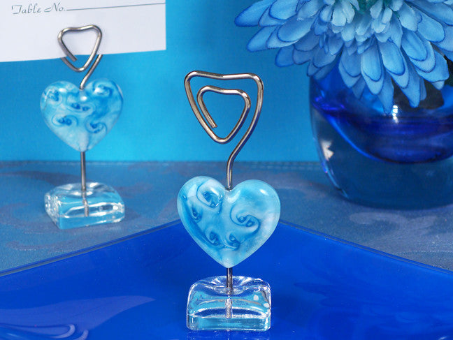 Murano Blue Glass Heart Place Card Holder
