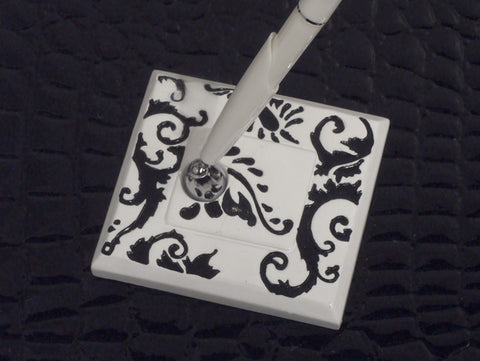 """Stylish Damask"" Wedding Pen Set"