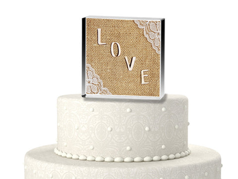 Burlap Love Wedding Cake Topper