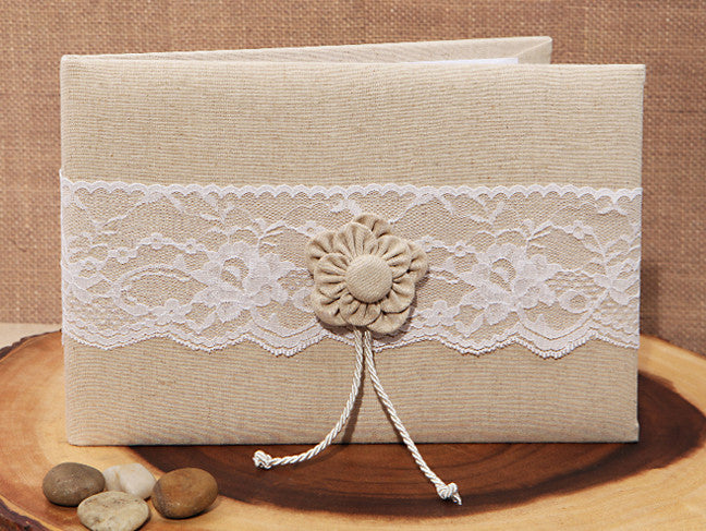 Hessian Wedding Rustic Collection Burlap and Lace Guest Book